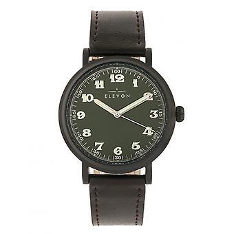 Elevon Felix Leather-Band Watch - Black/Dark Brown