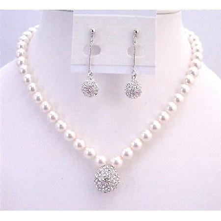 White Pearls Wedding Bridal Mother Of Groom Pendant Crystals Jewelry