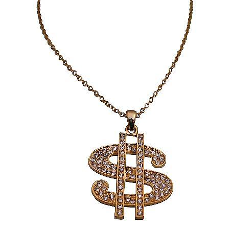 Gold Dollar Sign Pendant Necklace Bling Bling Pendant w/ Cubic Zircon