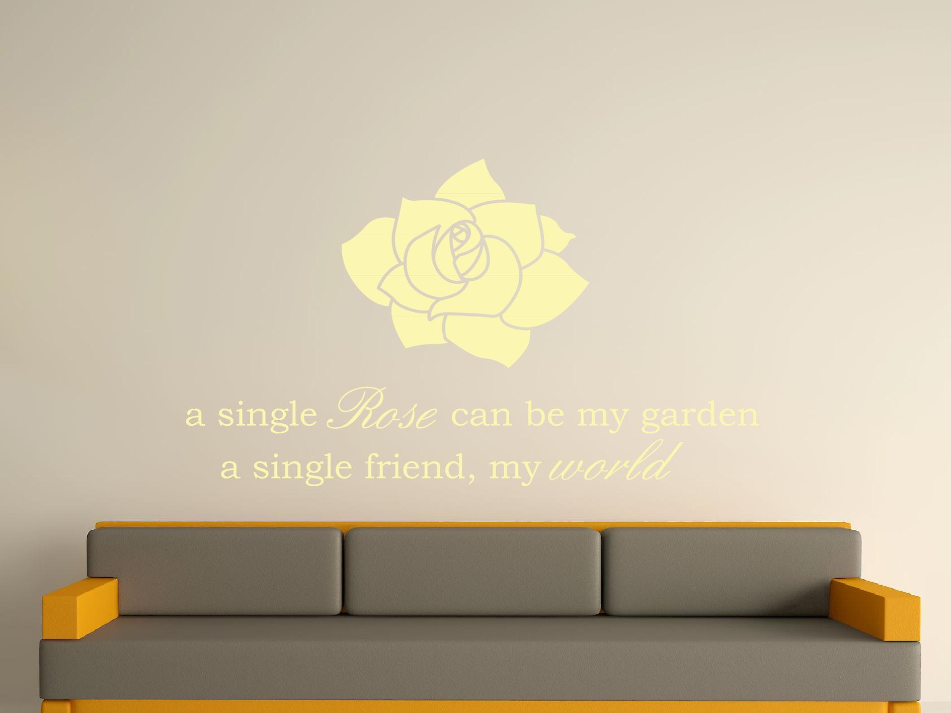 A Single Rose Wall Art Sticker - Beige