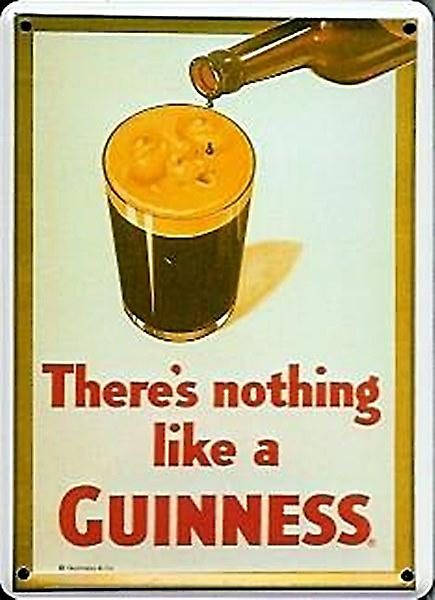 Guinness Face On Glass metal postcard / mini sign   (hi)