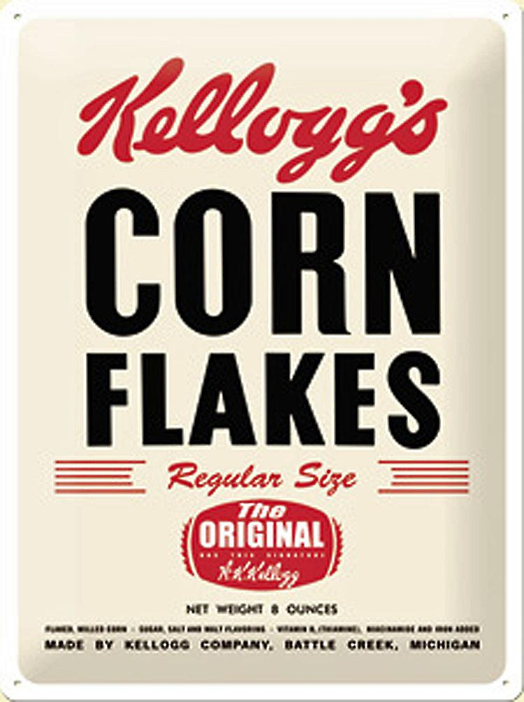 Kelloggs Corn Flakes Historic Packet large embossed steel sign        (na 4030)