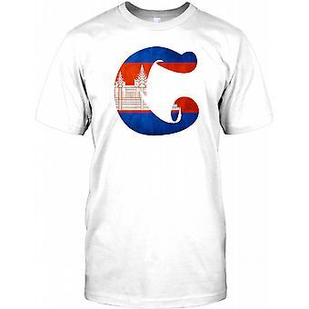 Cambodja Flag Design - Cool Herre T Shirt
