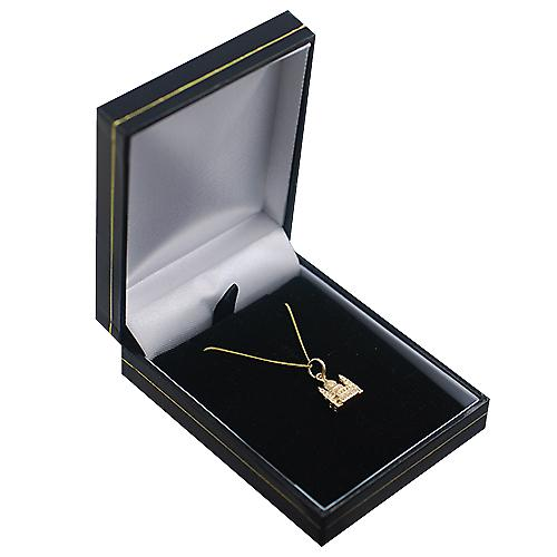9ct Gold 11x10mm solid St. Paul's Cathedral Pendant with a curb Chain 16 inches Only Suitable for Children