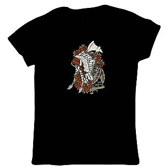 Indiase Womens T-Shirt | Indiase Big Chief hoofdtooi Powwow Tipi veren | Popcultuur Gift haar