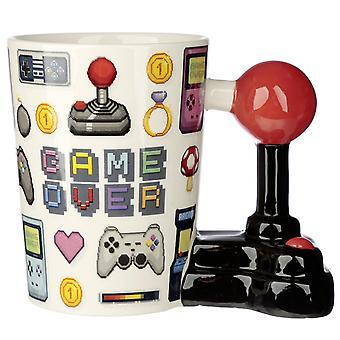 Joystick Tasse Game Over mit 3D Joystick am Henkel weiß, bedruckt, 100 % Keramik, in Geschenkverpackung.