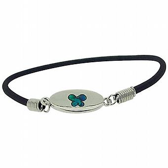 Butterfly Blue-Green Inlaid Paua Shell Elasticated Bracelet by TOC