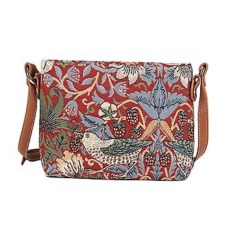 William morris - strawberry thief red cross body bag by signare tapestry / xb02-strd