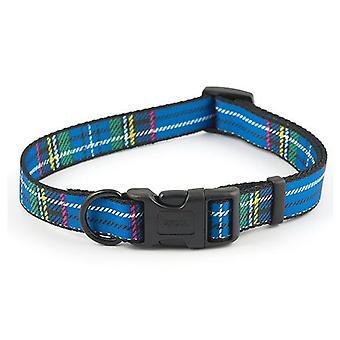アンチョール青タータン スタッドスタイルアジャスタブル犬の首輪 - 20-30 cm