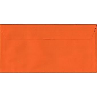 Orange Peel/Seal DL Coloured Orange Envelopes. 100gsm FSC Sustainable Paper. 110mm x 220mm. Wallet Style Envelope.