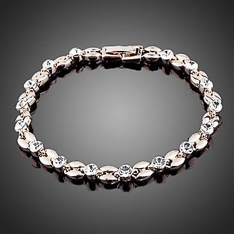 18K Gold Plated Two Tone Link Chain Crystal Bracelet, 6.5 cm diameter
