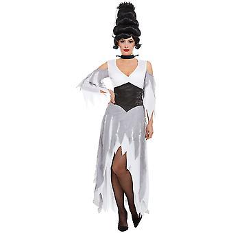 Gothic Braut Kostüm Damen Weiß mit Kleid Korsett und Halsband Damenkostüm Halloween Karneval
