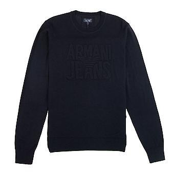 Armani Jeans Embossed Logo Lightweight Sweatshirt Blue