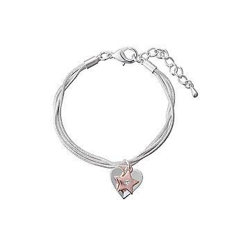 Fable Womens/Ladies Two Tone Heart And Star Charm Bracelet