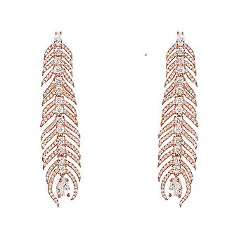 Long Peacock Feather Earrings White CZ Pink Rose Gold Statement Drop Gemstone