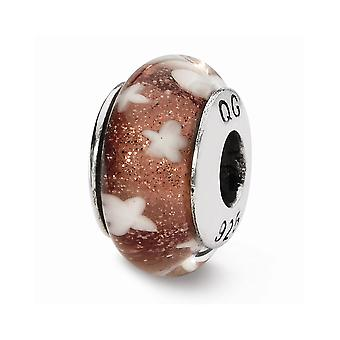 925 Sterling Silver Polished Antique finition Reflections Red White Stars Hand-blown Glass Bead Charm