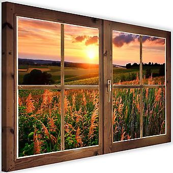 Canvas, Picture on canvas, window, a view of the field