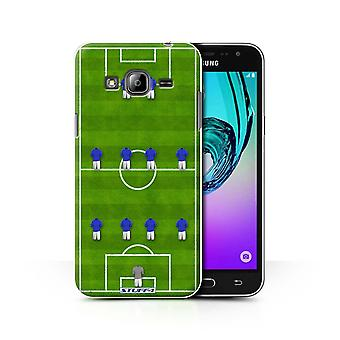 STUFF4 Case/Cover for Samsung Galaxy J3/4-4-2/Blue/Football Formation