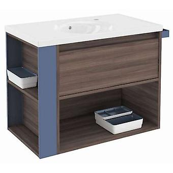 Bath+ 1 Drawer Cabinet + Shelf With Porcelain Basin Fresno-Blue 80CM