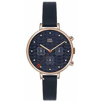Orla Kiely Ivy Chronograph Blue Leather Strap OK2042 Watch
