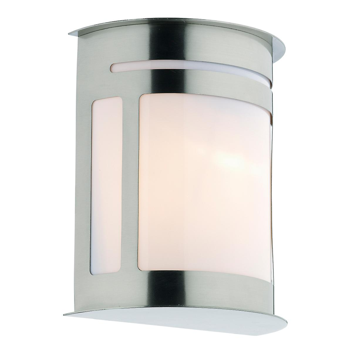 Dar ALU1644 Alumni Modern Oval Outdoor Wall Light With Opal Diffuser - Ip44
