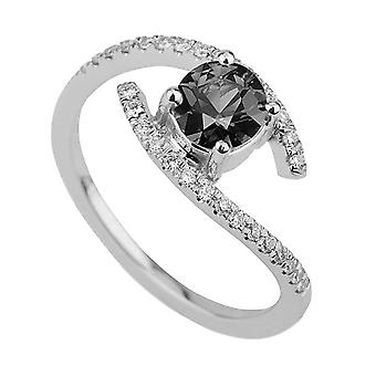 0.85 CTW Black Diamond Ring 14K White Gold Twistted With Accents Unique