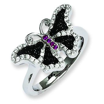 Sterling Silver and CZ Brilliant Embers Butterfly Ring - Ring Size: 6 to 8