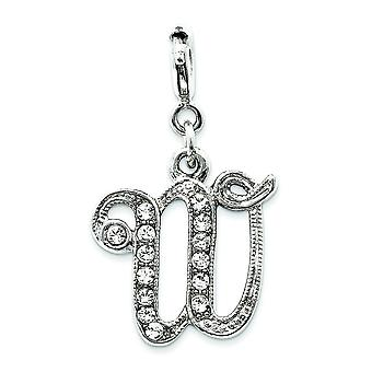 Silver-tone Crystal Initial W Spring Ring Charm