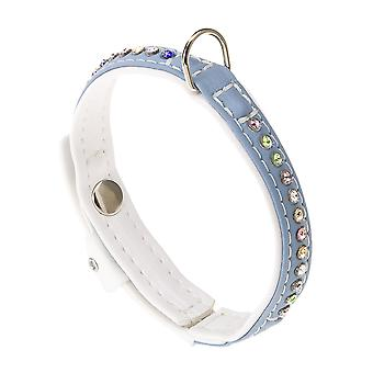 Lux C20/35 Eco Synthetic Leather Collar Blue/white 20mm X35cm (Pack of 2)