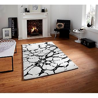 Luxurious High Class Ivory & Black Rugs Carved Wool Rugs Sorrento 50