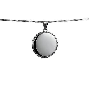 Silver 25mm plain twisted wire edge flat round Locket with a curb Chain 24 inches