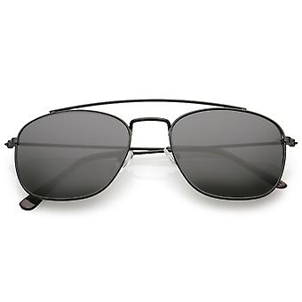 Classic Metal Square Lens Aviator Sunglasses Curved Crossbar 53mm