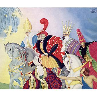 The Three Wise Men  Front cover Illustration by Felix de Gray from The Illustrated London News Christmas Number 1933 Poster Print by Hilary Jane Morgan  Design Pics