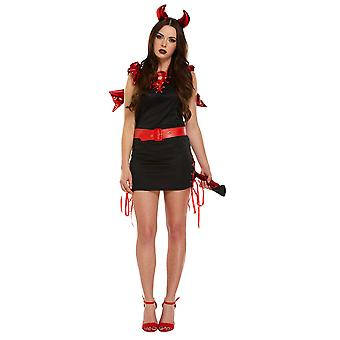 Red & Black Sexy Devil Adults Halloween Fancy Dress Costume From Henbrandt