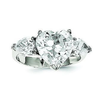 Sterling sølv poleret Cubic Zirconia Ring - ringstørrelse: 6-8