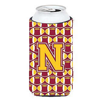 Letter N Football Maroon and Gold Tall Boy Beverage Insulator Hugger