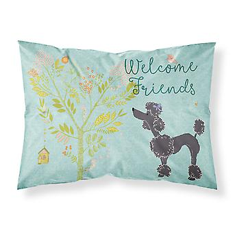 Welcome Friends Black Poodle Fabric Standard Pillowcase