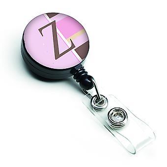 Letra Z monograma inicial - rayas rosa insignia Retractable carrete