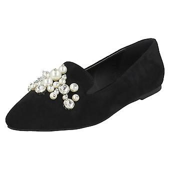 Ladies Spot On Flat Slipper Cut Ballerinas F80307