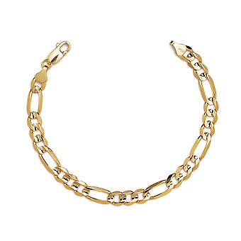 Floreo 10k Yellow Gold Figaro Chain Bracelet with Concave Look, 0.39 Inch (10mm)