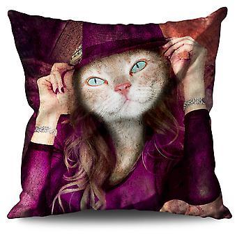 Kitty Girl Cute Face Cat Linen Cushion Kitty Girl Cute Face Cat | Wellcoda