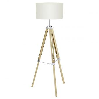 Eglo Lantada Modern Natural Wood Tripod Floor Lamp With Beige Fabric Drum Shade