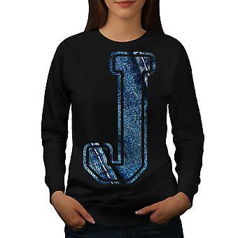 Letter J Jeans Fashion Women BlackSweatshirt   Wellcoda