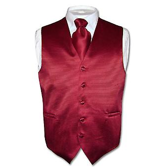 Men's Dress Vest & NeckTie Woven Neck Tie Horizontal Stripe Set