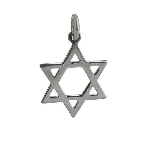 Silver 21x17mm plain Star of David Pendant