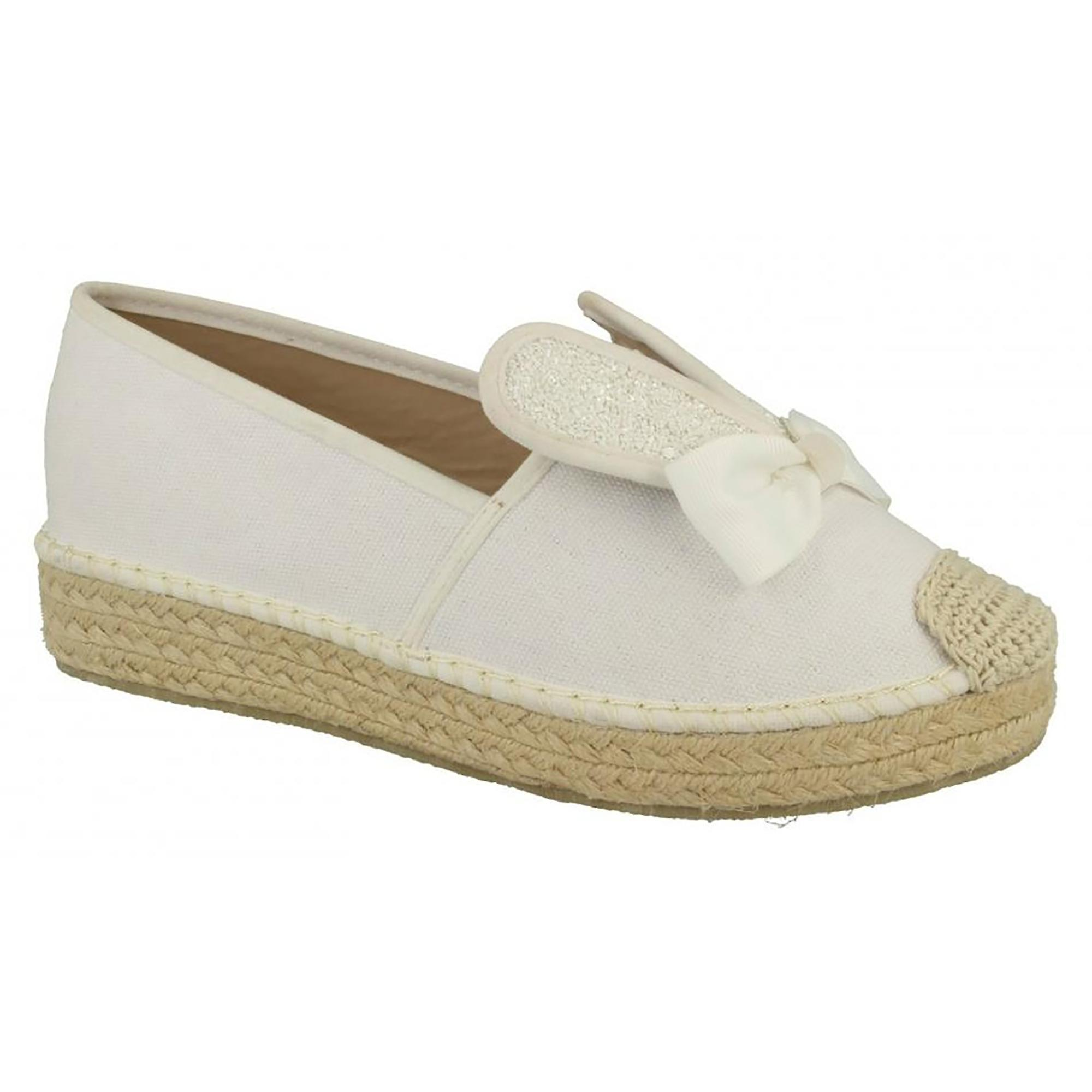 Spot On Womens/Ladies Womens/Ladies Womens/Ladies Bunny Ears Rope Aline Slip On Canvas Shoes 0649fa
