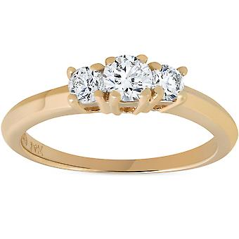 1 / 2ct três pedra diamante anel de noivado 14K ouro amarelo