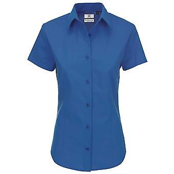 B&C Collection Heritage Short Sleeve Ladies Poplin Cotton Formal Work Shirt