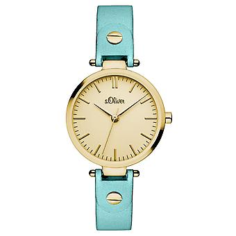 s.Oliver ladies wrist watch analog quartz leather IP gold SO-15094-LQR