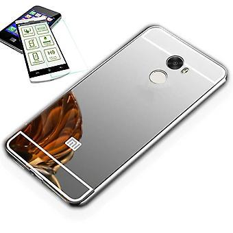 Mirror / Mirror aluminium bumper 2 piece silver + 0.3 mm H9 tempered glass for Xiaomi Redmi 5 plus